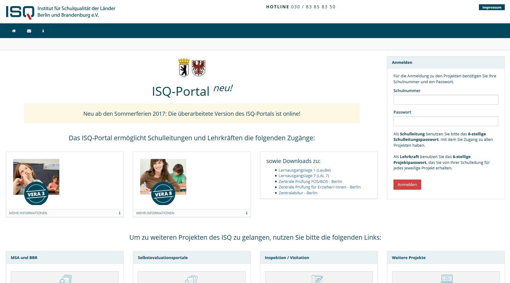 ISQ-Portal Startseite